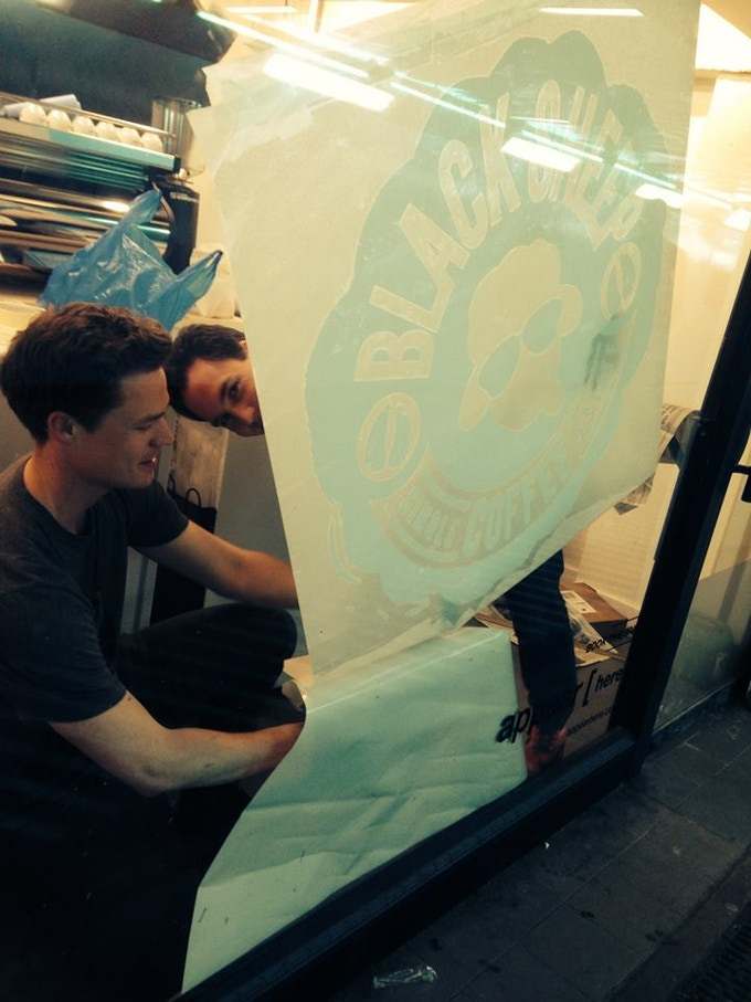 Eirik and Andy building up the Old Street station pop-up