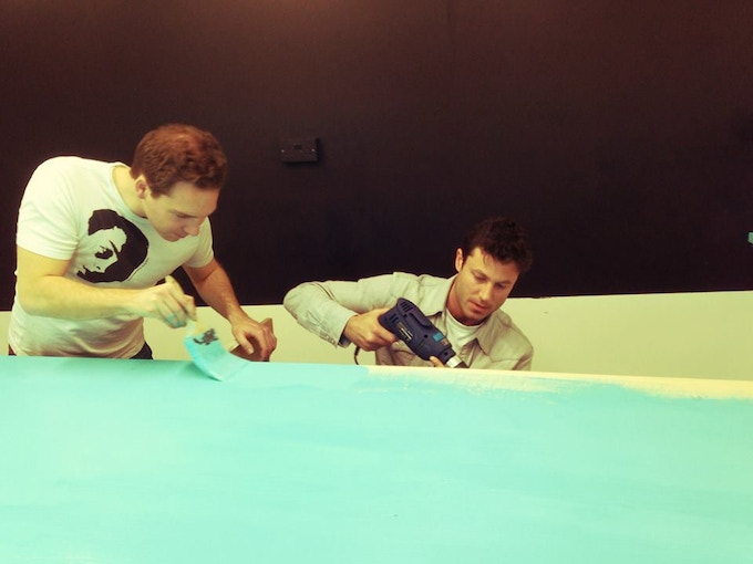 Gabe and Andy painting up the espresso bar