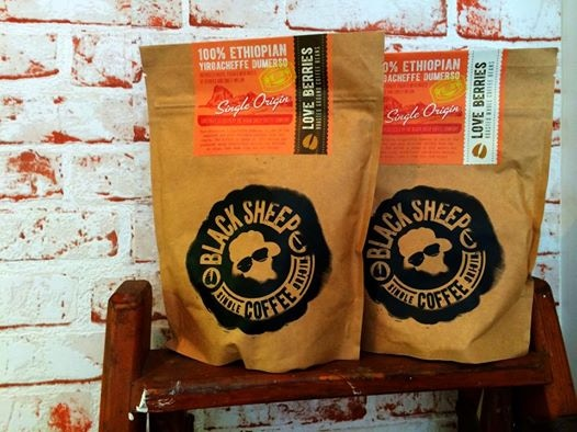 227g bags of Love Berries (ground and whole beans) 100% Yirgacheffe, Ethiopia)