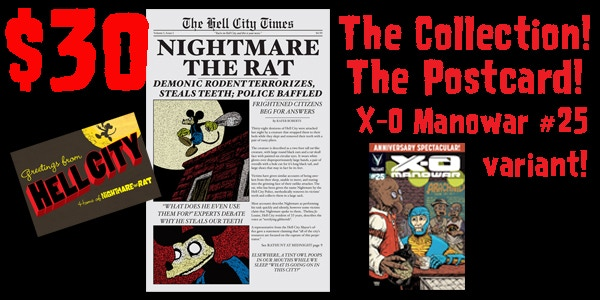 For $30, you get the postcard, the collection, AND a copy of my X-O Manowar #25 variant cover (signed).