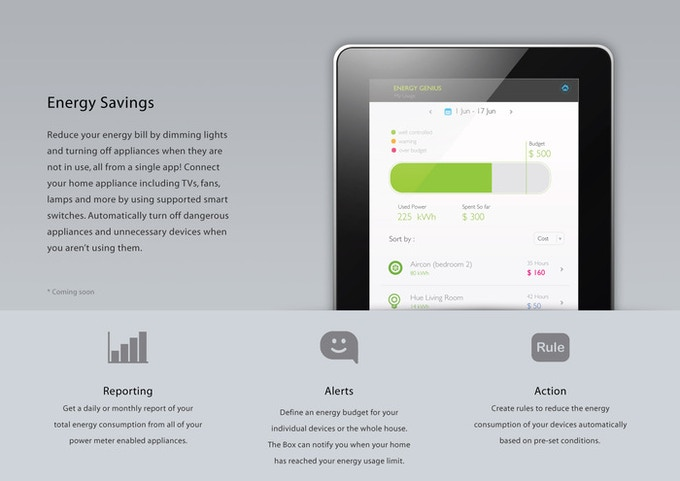 Makes your devices smarter with energy reporting, alerts and action.