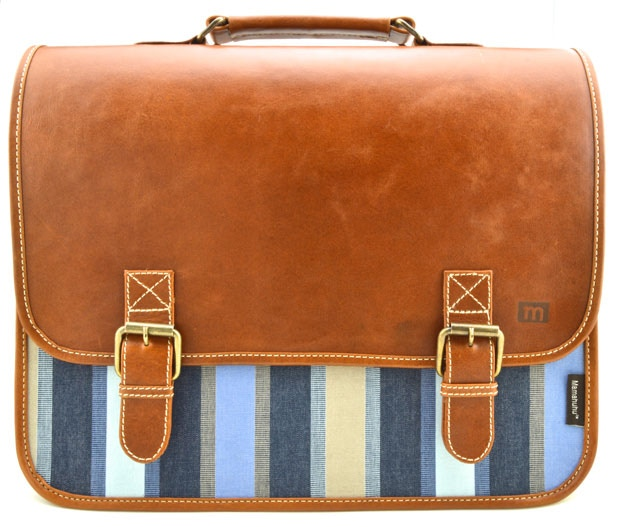 The Carryall: Tobacco Leather, Striped Blue; $175