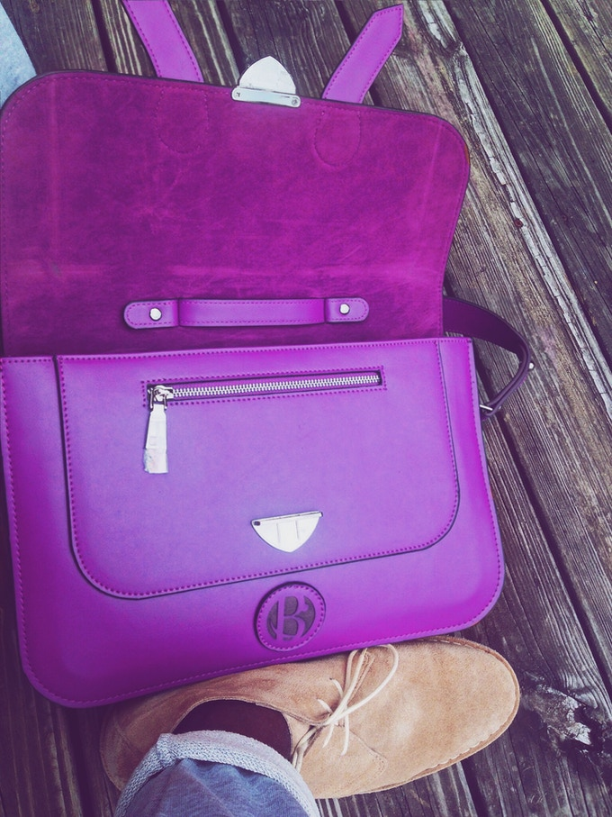 "The 15"" Purple Colored O'Bazzië Satchel"