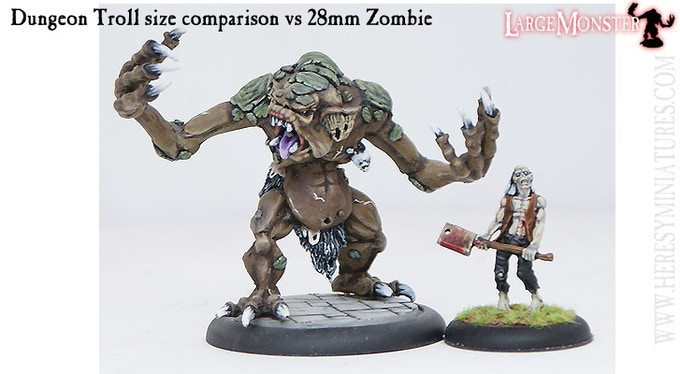 Dungeon Troll size comparison vs 28mm Zombie.