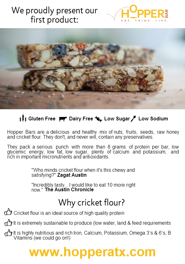 Hopper Cricket Bars. Sustainable Protein. Future Food! by