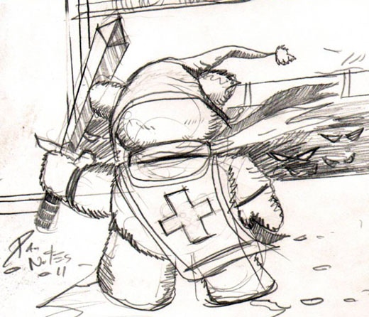 Tristan the Teddy Bear - First Concept Sketch by Dan Nokes