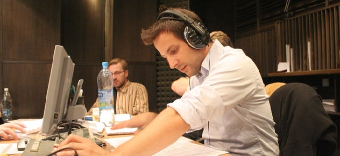 Stephan Cahen during the choir recordings for Gothic 3.