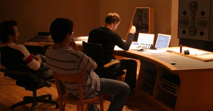 Me (right) listening to Stephan's (left) surround mix for Gothic 3.