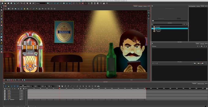 Interior Bar scene - pan shot in animation program