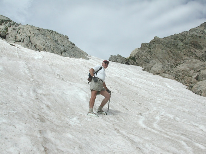 Climbing Mt. Toll snowfield