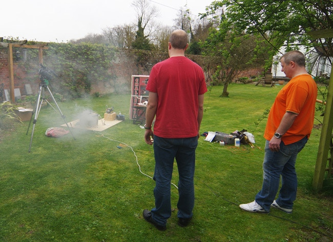 Light the blue touchpaper and stand well back: Hypobaric chamber rocket motor test in April 2014