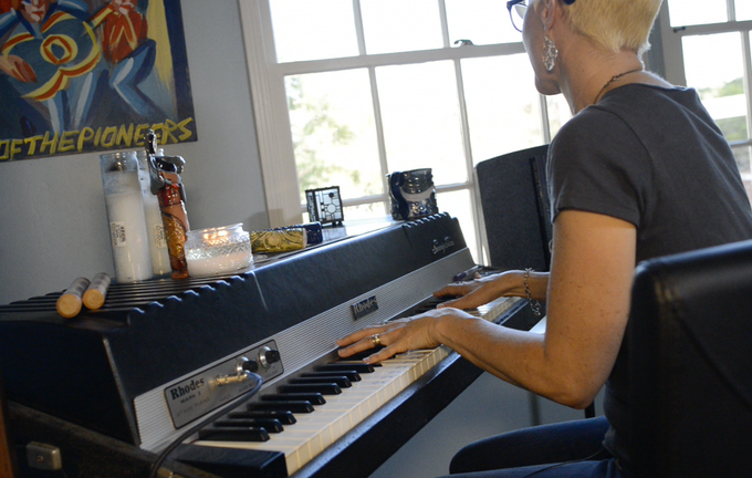 Me with the Rhodes piano used on pretty much every Adam Again record. It still coaxes words and melodies out of anyone who plays it.