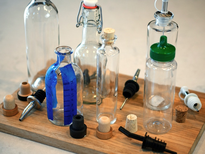 Just a few of the bottles and pour spouts we tried.