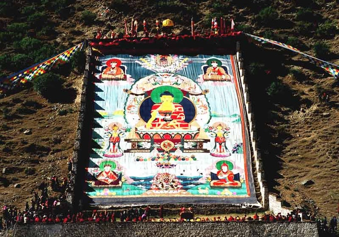 The Karma Gadri Goku is displayed one day a year at Tsurphu Monastery in Tibet.