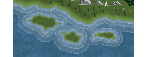 Shorelines from different landmasses interact automatically