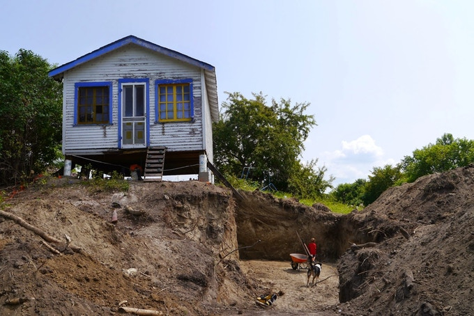 Cottage on-site near recent excavation