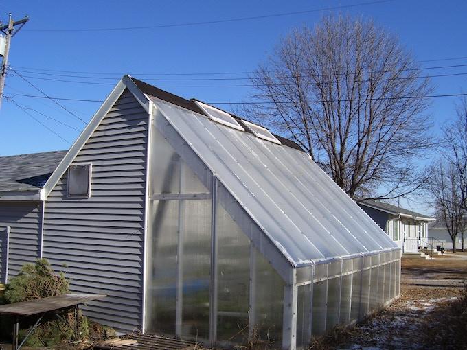 "Polycarbonate on original ""Garden Goddess"" deep winter greenhouse"