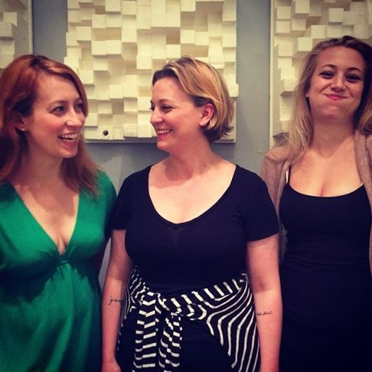 Emily (Savannah), Miranda (writer), and Katie (Emma)