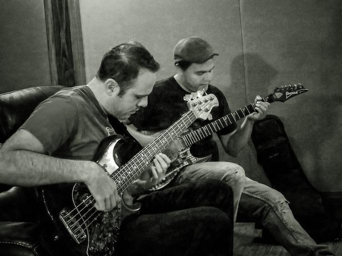 Left to right: Joe Green (bass), Eric Gutierrez (guitar)
