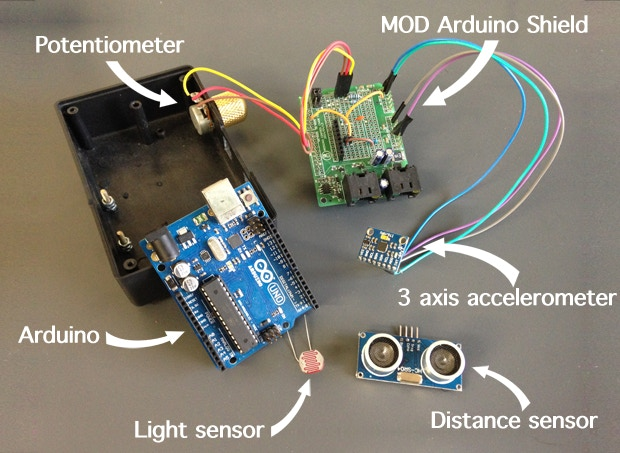 Exploded view of the MOD Arduino Shield and some sensors.