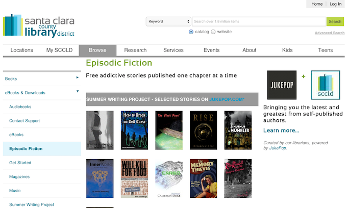 Author's Stories are accessible and ebooks can be downloaded directly from Santa Clara Library's website, free of charge