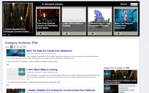 Sample of 1 of 100s of Cagteory (PS4) Shows the newest, the hottest and the most talked about content from many gaming sites all in one place.