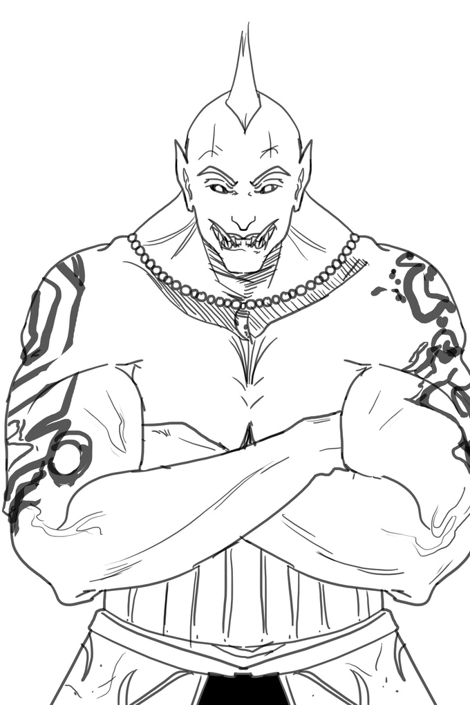 Getava Omak - Half-Orc Commoner and Bouncer doing his best to intimidate his way out of a fight he's not sure he can win.