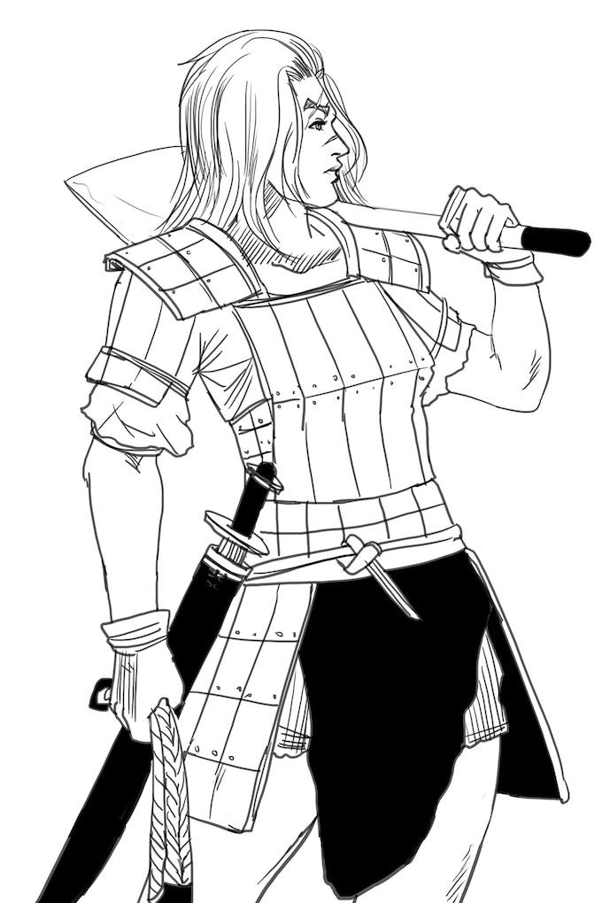Bekan of Riverford -iconic commoner and militia veteran- surveys her village's defenses.