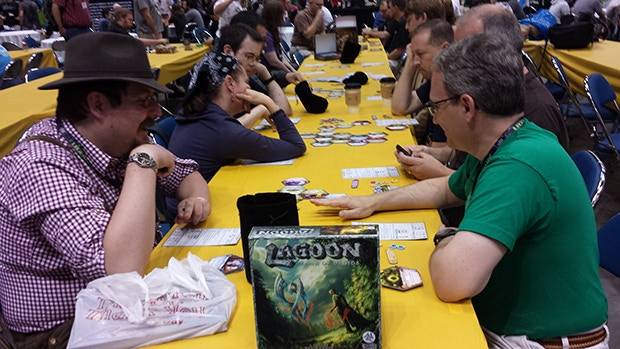 Four simultaneous games of Lagoon during a tournament.