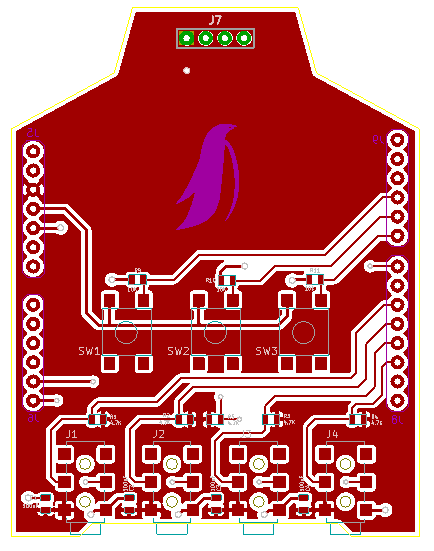 "Layout of our ""Emperor Penguin"" PCB, featuring OLED Display, up to 4 Temperature & Humidity probe connections, 3 keys input"