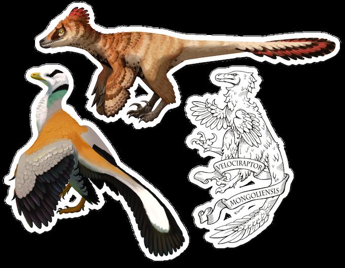 Sticker artwork featuring velociraptor, archaeopteryx and a heraldic velociraptor.