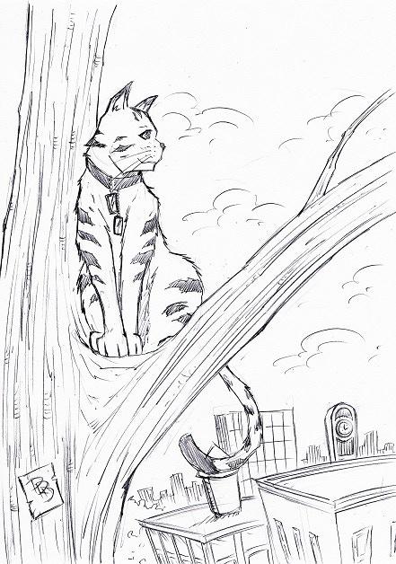 Detailed Sketch of Tabby - Reward - Original Artwork