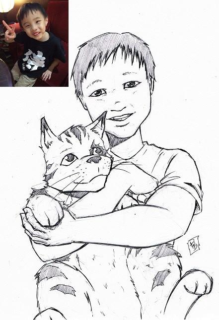 Personalised Sketch with Tabby - Reward - Original Artwork