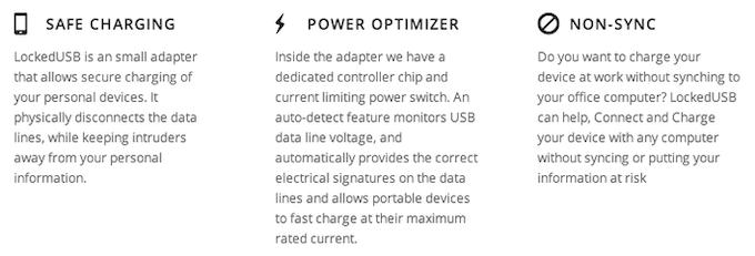 LockedUSB Adapter MK2 - Safe Charging, Power Optimizer, No-Sync Option