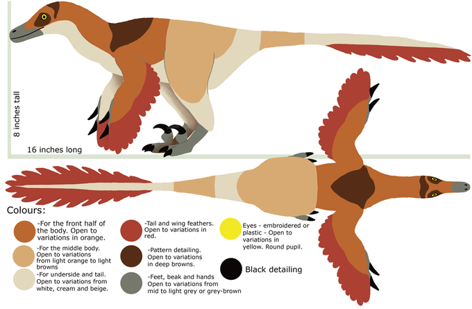 Initial design for the velociraptor plush.
