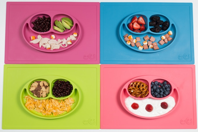 The Happy Mat has three compartments – perfect for a fruit, veggie and main dish.