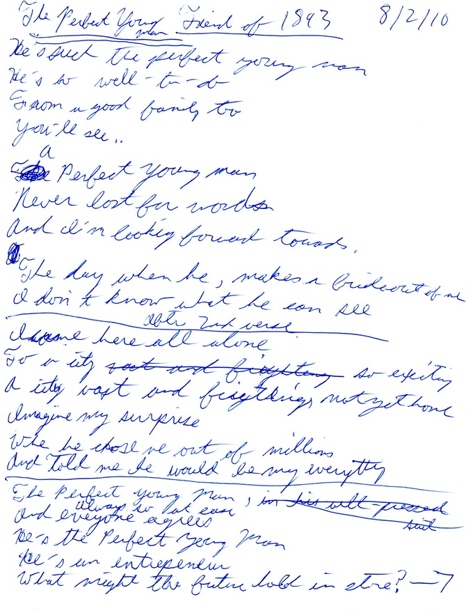Page 1 of Jonathan's Original Handwritten Lyrics for The Perfect Young Man
