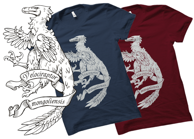 Mock up of Heraldic Velociraptor t-shirt, screen printed in white on 100% cotton heavy gildan t-shirts. Available in sizes S-XXL and in Dark Heather or Russett.