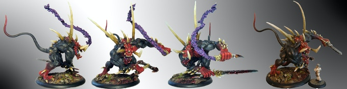 NL2 is a big demon, a perfect centerpiece for your fantasy demon army. Shown against 28mm Dr Frankenmuller for size.