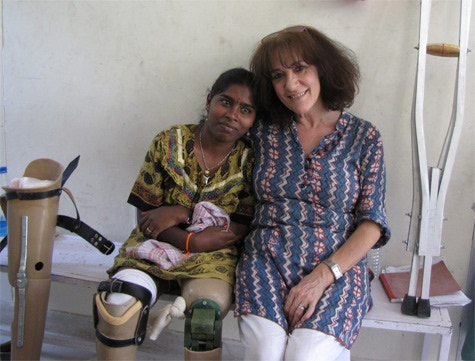 Sandhya and me outside the workshop in Jaipur