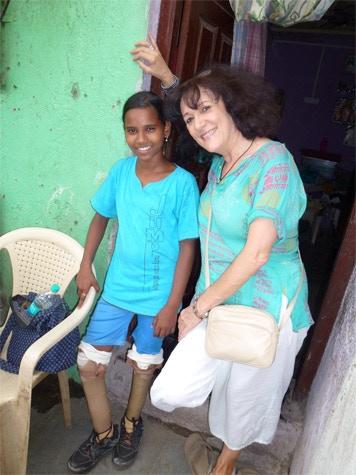 Roshni and me outside her house beside the railway tracks in Mumbai