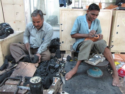 The first stage: making the feet in the workshop at Jaipur. Each one is made by hand.