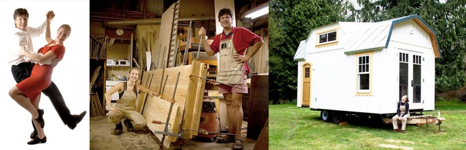 Above: Dancing with Celina, working on her loft floor, and her cottage