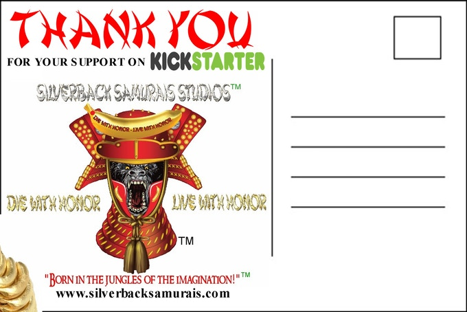 "Silverback Samurais Studios™ ""THANK YOU"" postcard design"