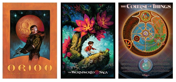 """The three posters """"Captain Orion"""", """"Fireflowers"""" and """"The Course of Things"""""""