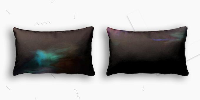 "Mo Marie, Fount Pillow, 2014. 13"" x 21"" Polyester Lumbar Pillow, edition of 10."