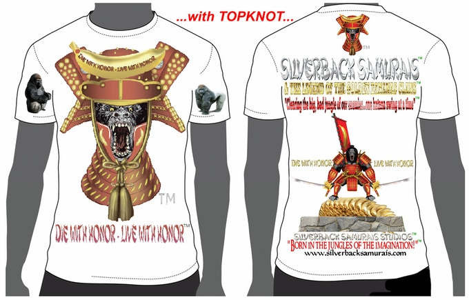 "This is the ""TOPKNOT"" T-shirt design.. Please, state style and size."