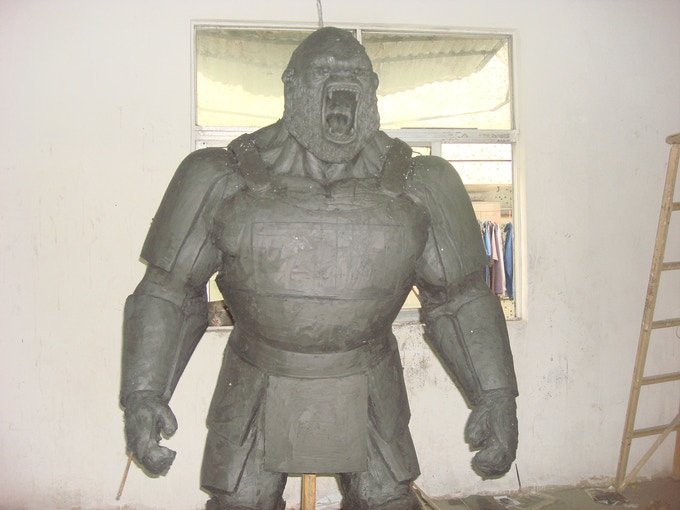 This is the  Silverback Samurai™ from a distance. Upon his completion, he will be cast in fiberglass and painted red like the armor on the Samurai gorilla pics.
