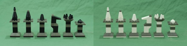 From left to right: King, Queen, Bishop, Knight, Rook, and Pawn