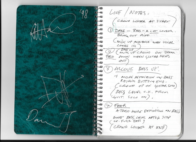 Journal signed by David J, Danie Ash & Kevin Haskins.